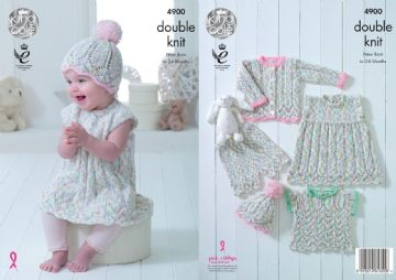 King Cole DK Knitting Pattern - Dress, Cardigan, Top , Shorts & Hat (4900), 14-22 in